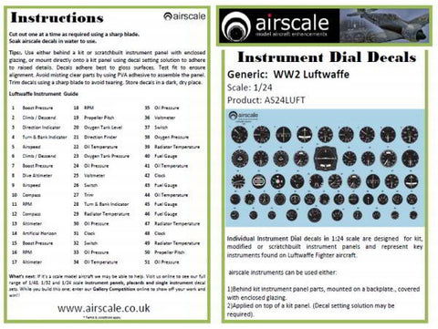 Airscale 1/24 scale WWII Luftwaffe Instrument Dial Cockpit decals - AS24LUFT