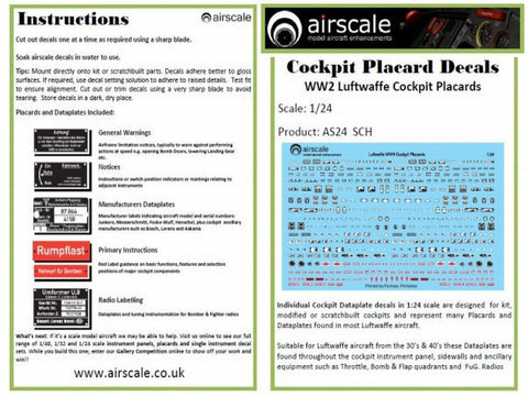 Airscale 1/24 Luftwaffe Cockpit Placards decals AS24SCH
