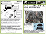 Airscale 1/24 Bf 109E Instrument Panel decal AS24MEA