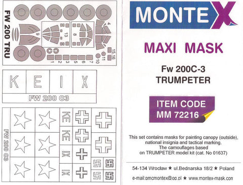 Montex 1/72 canopy masks & markings Trumpeter Fw 200C-3 kit - MM72216