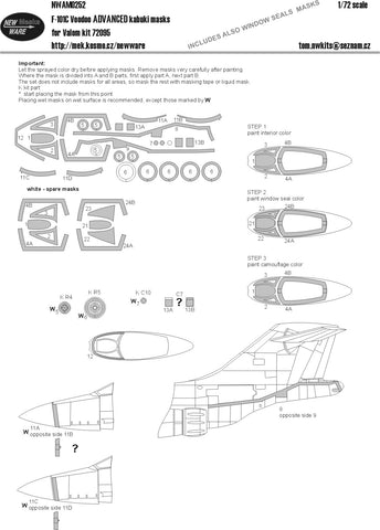 New Ware 1/72 ADVANCED kabuki masks F-101C Voodoo for Valom 72095