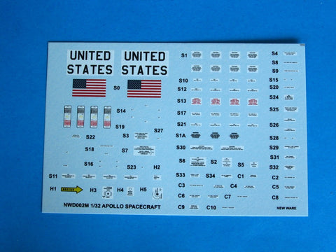 New Ware 1/32 decals Apollo CSM exterior for H & J mission - NWD002M
