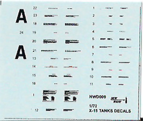 New Ware 1/72 X-15 A-2 Tank Decals for Revell - NWD009