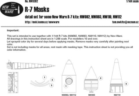 New Ware 1/144 NWS092 R-7 Special Airbrush Masks