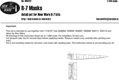 New Ware 1/144 NWS111 R-7 Basic Airbrush Masks