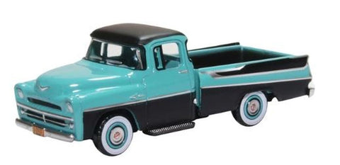 Oxford Diecast Co. HO 87DP57002 Dodge D100 Sweptside Pickup 1957, (Turquoise & Jewel Black)