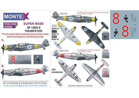 Montex 1/24 masks & markings Bf 109G-6 Trumpeter K24066