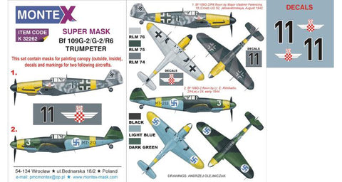 Montex 1/32 masks, decals & markings for the Bf 109G-2/R6 by Trumpeter - k32262