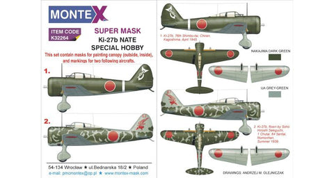 Montex 1/32 masks & markings for the Ki-27b NATE by Special Hobby - k32264