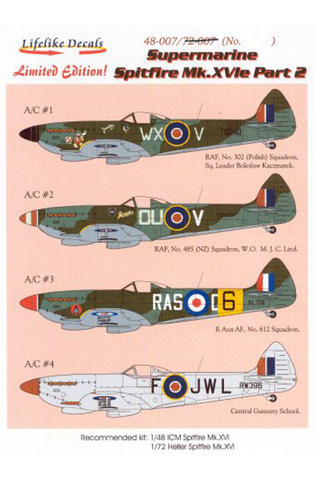 LifeLike 1/72 decal for Spitfire MK.XVIe Pt.2 LLD72007