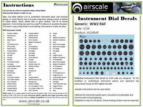 Airscale 1/24 RAF Cockpit Instrument decals AS24RAF