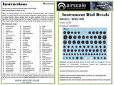 Airscale 1/48 scale WWII RAF Cockpit Instrument decals - AS48RAF