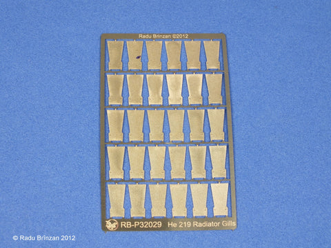RB Productions 1/32 He 219 Radiator Cowl Gills for Revell - RBP32029