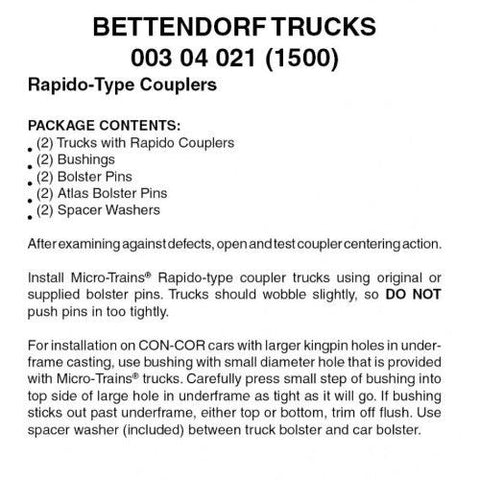 Micro Trains 00304021 N Scale 1-Pair of Bettendorf Trucks W/Rapido-Type Couplers