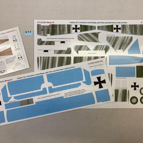 Aviattic 1/32 Scale decals ATT32305 Fokker Dr.I streaked camouflage for Meng kit