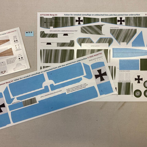 Aviattic 1/32 Scale decals ATT32306 Fokker Dr.I streaked camouflage unbleached linen for Meng kit
