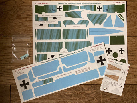 Aviattic 1/32 Scale decals ATT32292 Fokker F.I 102/17 Rittmeister Manfred von Richthofen and Ltn. Kurt Wolff for Meng kit