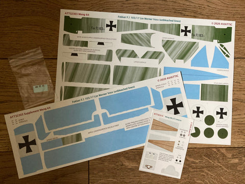Aviattic 1/32 Scale decals ATT32303 Fokker F.I 103/17 Ltn. Werner Voss (unbleached linen) for Meng kit