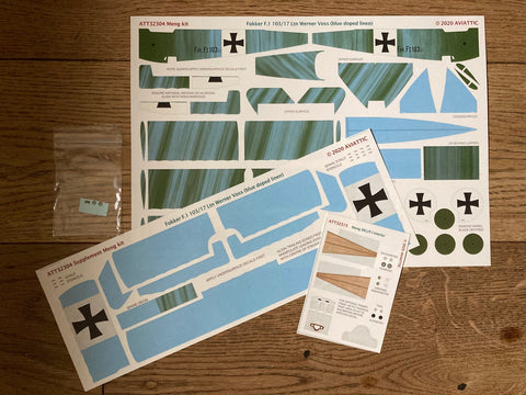 Aviattic 1/32 Scale decals ATT32304 Fokker F.I 103/17 Ltn. Werner Voss (blue painted linen) for Meng kit