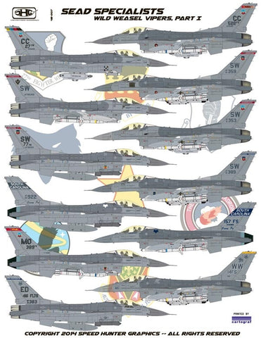 Speed Hunter Graphics 48007 1/48 decal SEAD Specialists F-16C Tamiya