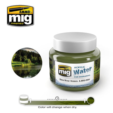 Ammo of Mig Jimenez water simulating Acrylic gel 8oz. SLOW RIVER WATER #2204