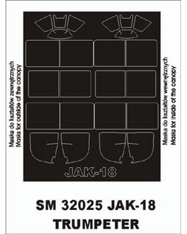 Montex 1/32 canopy masks for Jak-18 by Trumpeter - SM32025