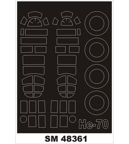 Montex 1/48 canopy masks for AZ Models Heinkel He-70 kit - SM48361