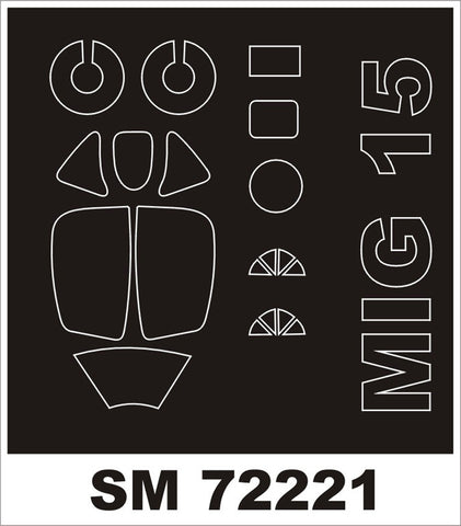 Montex 1/72 canopy masks for Eduard MiG-15 kit - SM72221