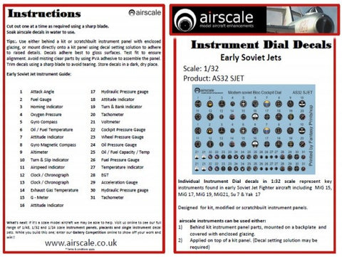 Airscale 1/32 Soviet Jet Cockpit instrument decals AS32SJET