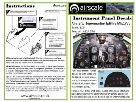 Airscale 1/24 Spitfire Instrument Panel decal AS24SPA