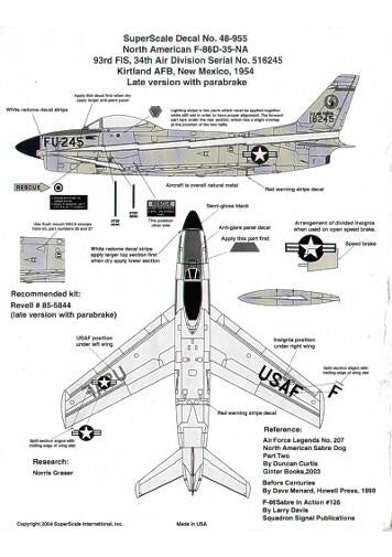 superscale 1  48 decals f-86d sabre kirtland afb 1954