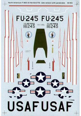 SuperScale 1/48 decals F-86D Sabre Kirtland AFB 1954 - #48-955