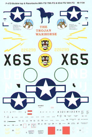 SuperScale 1/48 decals P-47D Thunderbolts for Tamiya - #48-1104