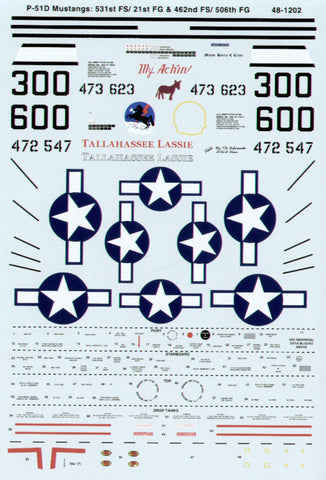 SuperScale 1/48 decals P-51 Mustang Tallahassee Lassie & My Achin! #48-1202