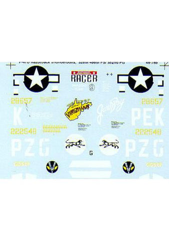 SuperScale 1/48 decals for Tamiya P-47 Thunderbolt Razorbacks MS48786