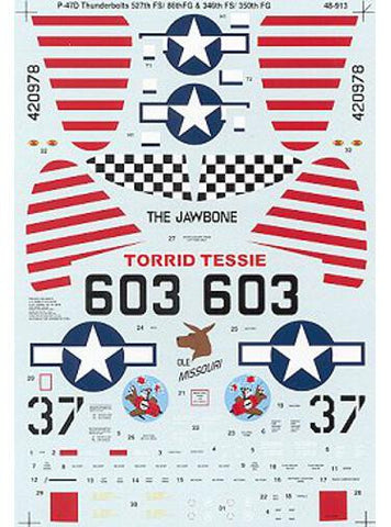 SuperScale 1/48 decals for P-47D Thunderbolt Bubble tops - 48-913