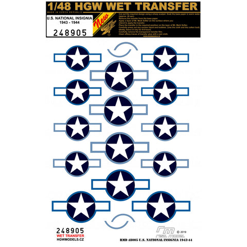 HGW 1/48 scale wet transfers U.S. NATIONAL INSIGNIA 1943-1944  - 248905