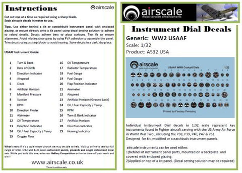 Airscale 1/32 USAAF Cockpit instrument decals AS32USA