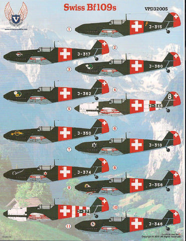 Victory Productions 1/32 Swiss Bf-109s for Eduard & Hasegawa - VPD32005