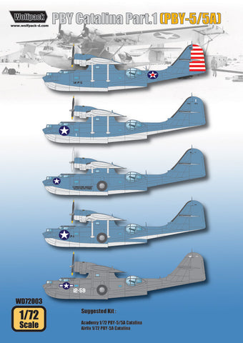 Wolfpack 1/72 scale decal PBY Catalina Part1 PBY-5/5A for Academy WD72003