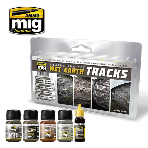 Ammo Mig Jimenez 5 jars WET EARTH TRACKS MEDIA WEATHERING SET - AMIG7438