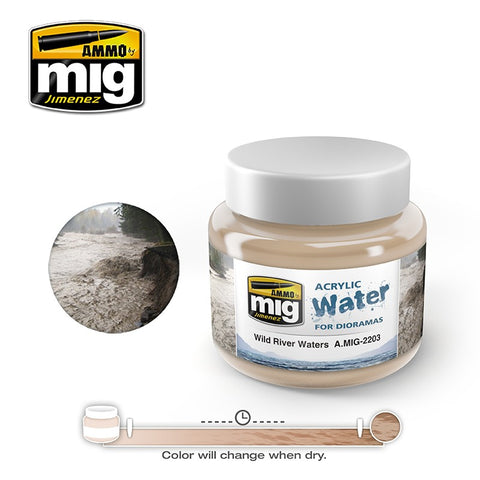 Ammo of Mig Jimenez water simulating Acrylic gel 8oz. WILD RIVER WATER #2203