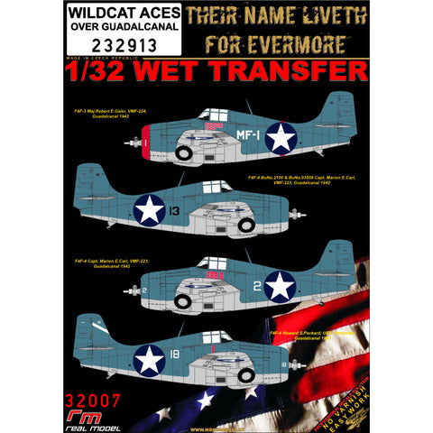 HGW 1/32 scale wet transfers for F4F-3/4 WILDCAT ACES over Guadalcanal- 232913
