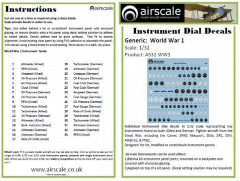 Airscale 1/32 World War I cockpit instrument decals AS32WW1
