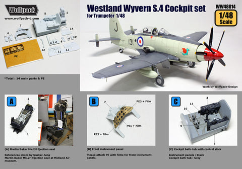 1/48 Wolfpack Westland Wyvern S.4 Cockpit set for Trumpeter WW48014