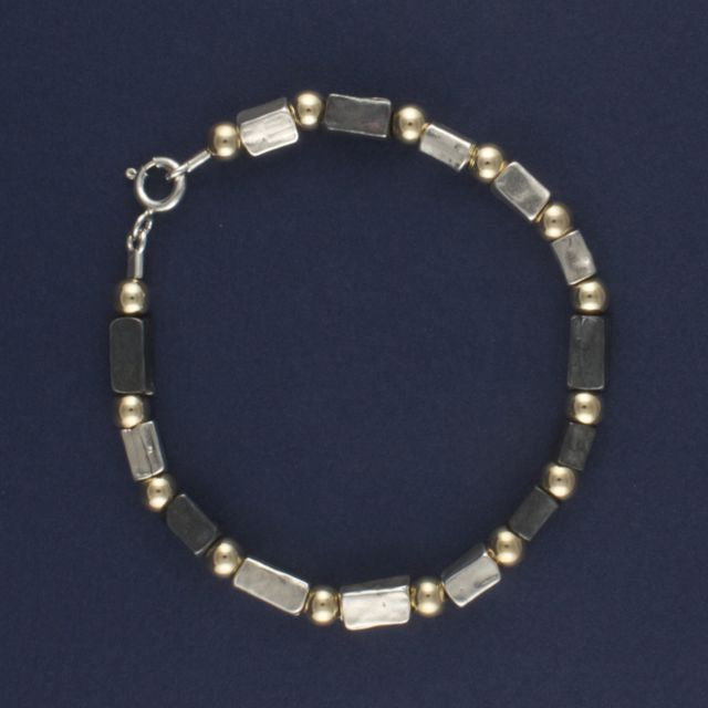 oxidised silver and gold beads bracelet - Lior - Portobello Lane
