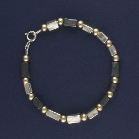 oxidised silver and gold beads bracelet - Portobello Lane