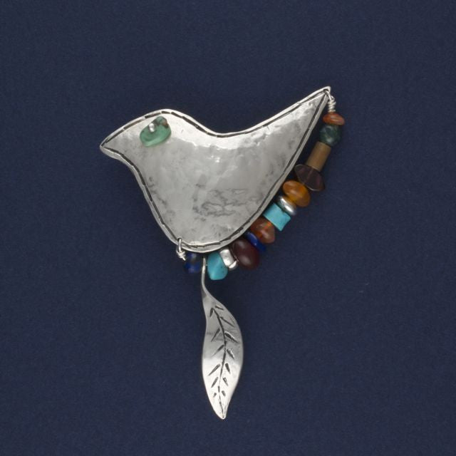 bird brooch with gemstones - Ruth - Portobello Lane