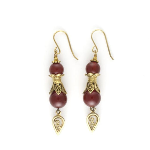 antique earrings carnelian
