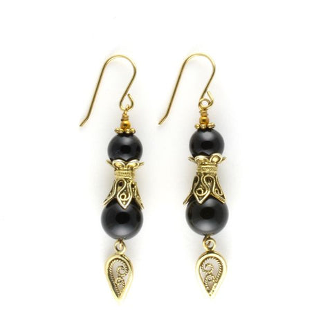 antique earrings onyx